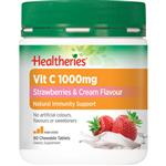 Healtheries Vit C 1000mg Strawberry & Cream 80 Chewable Tablets