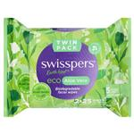 Swisspers Eco Aloe Vera Biodegradable Facial Wipes Twin Pack 2 x 25 Wipes