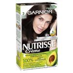 Garnier Nutrisse Permanent Hair Colour - 3 Espresso Darkest Brown (Enriched with 4 Natural Oils)