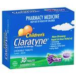Claratyne Children's Hayfever & Allergy Relief Antihistamine Grape Flavoured Chewable Tablets 30 pack