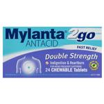Mylanta 2go Double Strength Chewable Antacid Tablets 24 Pack