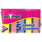 Super Bright Sponge Scourers 5 Pack