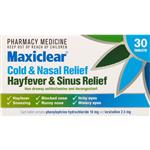 Maxiclear Cold & Nasal Hayfever & Sinus Relief Tablets 30