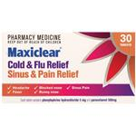 Maxiclear Cold & Flu Sinus & Pain Relief Tablets 30